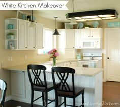 DIY White Kitchen Makeover- I LOVE this look!