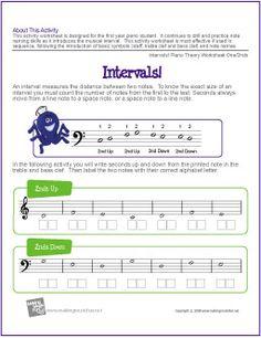 Intervals! | Worksheet One/2nds - http://makingmusicfun.net/htm/f_printit_free_printable_worksheets/intervals-worksheet-seconds.htm
