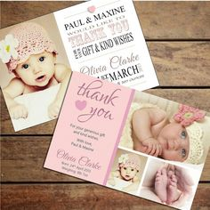 Personalised Baby Girl Thank You Card (Packs of ten) in Home, Furniture & DIY, Celebrations & Occasions, Cards & Stationery | eBay