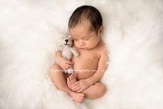 knoxville newborn photographer-amy larson photography-studio session-newborn boy-posed session-teddy-stuffed animal-white