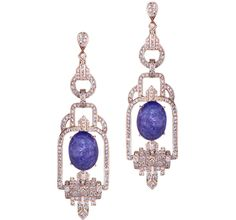 Sethi Couture tanzanite cabochon Deco earrings #brittspick @sethicouture