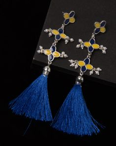 Silver Tone Danglers Adorned With Enamel Work #fashion #style #tasselearrings #wedding