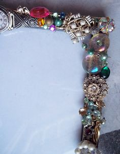 Picture Frame Embellished with Old Costume Jewelry