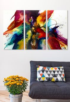 Make a statement with this colorful abstract piece by Jonas Gerard. Moroccan born Jonas Gerard welcomes the creative energy of the universe to combine both a contemporary and classic look. This unique piece of art celebrates an excellent use of color perfect for any room in your home.