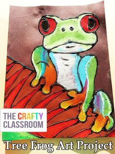 Stunning Tree Frog Art Project for Kids! Glue + Oil Pastel, Includes full photo…