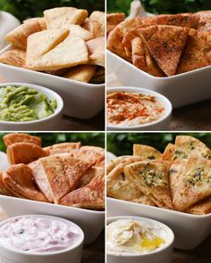 Pita Chips 4 Ways - Vegane Snacks A Food, Food And Drink, Vegetarian Recipes, Cooking Recipes, Snacks Für Party, Finger Foods, Appetizer Recipes, Healthy Snacks, Simple Snacks