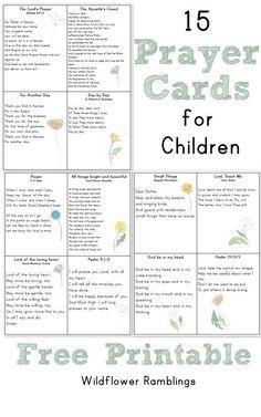 Prayer Cards for Children {free printable!} - Wildflower Ramblings New Catholic Kids, Catholic Prayers, Kids Church, Catholic Catechism, Church Camp, Catholic School, Bible Study For Kids, Kids Bible, Children's Bible