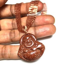 Goldstone Buddha Necklace / Copper Mesh Wire by DesignsByAlesia