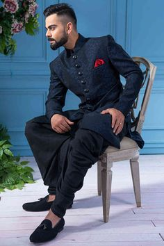 Solemn Blue Indo Western Fusion Wear Online for Men is part of Wedding dress men Buy Solemn Blue Indo Western Contemporary wear from the house of Manyavar Choose from a wide range of designer Ind - Sherwani For Men Wedding, Wedding Dresses Men Indian, Groom Wedding Dress, Wedding Men, Wedding Poses, Wedding Suits, Punjabi Wedding, Indian Weddings, Farm Wedding