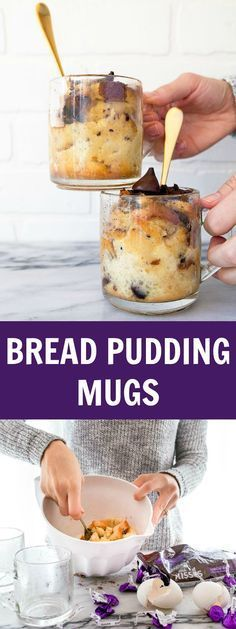 Bread pudding made in mugs. Mug cakes, mug bread pudding, mug desserts. Dessert for two, but scaled up easily. (Dessert Recipes For Two) Mug Recipes, Pudding Recipes, Sweet Recipes, Cake Recipes, Dessert Recipes, Cooking Recipes, Microwave Recipes, Bread Pudding Recipe For Two, Pudding In A Mug