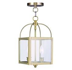 Livex Lighting 4041 2 Light 120 Watt Ceiling Mount Convertible Chain Hung Foyer Pendant with Clear Glass from the Milford Collection