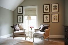 Urban Grace Interiors Neutral wall color, patterned carpet, whimsical table