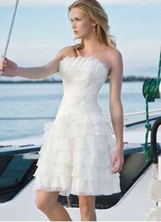 A-Line/Princess Scalloped Neck Knee-Length Chiffon Organza Wedding Dress With Ruffle Appliques Lace