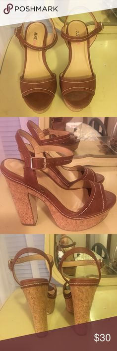 Cork platform heels Never worn, cognac faux leather with white stitching. Approx 5 inch heel, 1.5 inch platform. JustFab Shoes Platforms