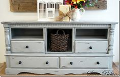 Transform a dresser to a console table for the TV... use the old dresser in Sophia's room- it would be perfect.