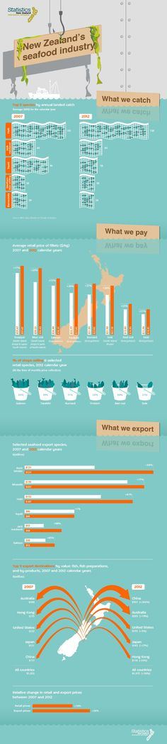 Image about New Zealand's seafood industry showing what fish we catch, the price we pay, and what we export. Information Design, New Zealand, Seafood, Industrial, Teaching, News, Infographics, Fish, Image