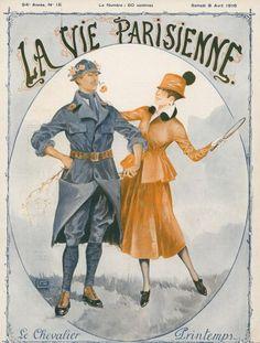 Georges Léonnec (1881 – 1940). Le Chevalier Printemps. La Vie Parisienne, 8 Avril 1916. [Pinned 22-vii-2015]