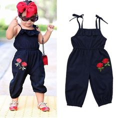 Buy Toddler Kids Baby Girls Strap Flower Romper Jumpsuit Playsuit Outfit Clothes at Wish - Shopping Made Fun Kids Frocks, Frocks For Girls, Little Girl Dresses, Fashion Kids, Toddler Fashion, Baby Girl Fashion, Womens Fashion, Fashion Trends, Little Boy Outfits