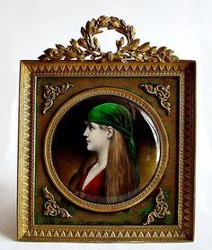 19c. French Limoges Enamel Miniature Portrait Plaque Gilt Bronze Frame from The Antique Boutique on Ruby Lane
