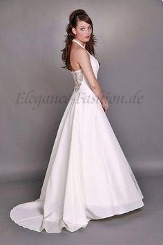 Wunderschönes Neckholder-Brautkleid Virginia  1-teiliges Kleid, figurnah geschnitten. Im Brustbereich mit feinster Spitze überzogen, mit Necholder-Trä