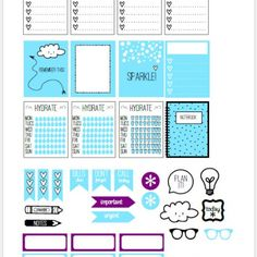 Blue Skies Planner Stickers | Free printable download suitable for Erin Condren planners or other vertical weekly planners.