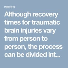 Understanding TBI: Part 3 - The Recovery Process Traumatic Brain Injury, Recovery, Times, Survival Tips, Healing