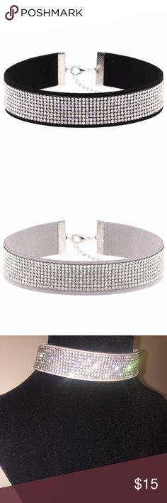✨Suede Leather Crystal Choker ✨ ✨Gorgeous  suede leather rhinestone choker necklace. The length is 38 cm and the width is 2,5 cm.✨Available in black and light gray colors! ✨ Jewelry Necklaces