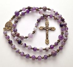 Catholic Rosary, Flower Amethyst Beads, Vintage Style, Antique Gold Crucifix, Holy Spirit Center, Prayer Beads, Religious Gift on Etsy, $60.00