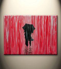 red black white original abstract painting walking in por maggyart