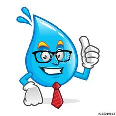 """Download the royalty-free vector """"Businessman water mascot wearing glasses and tie, water character, water cartoon vector"""" designed by IronVector at the lowest price on Fotolia.com. Browse our cheap image bank online to find the perfect stock vector for your marketing projects!"""