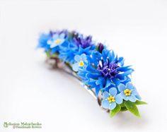 Barrette Fleurs DOrange Polymer Clay Flowers por SaisonRomantique