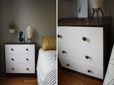 1. Buy a cheap unfinished dresser.  2. Stain and paint the wood.  3. Be amazed.