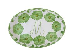 Azulina Ceramics - Lima Collection - Oval Serving Platter Monogrammed with M