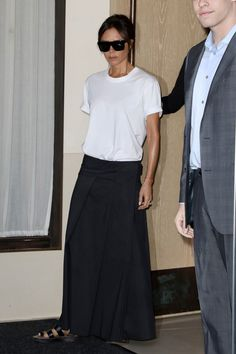 Victoria Beckham Steps Out in the Girlish Alternative to Wide-Leg Pants - The designer, Victoria Beckham, put a feminine spin on her boyish new uniform ahead of her spring 2 - Victoria Beckham Outfits, Victoria Beckham Style, Mode Outfits, Casual Outfits, Fashion Outfits, Womens Fashion, Black Maxi Outfits, Vic Beckham, Mode Ab 50