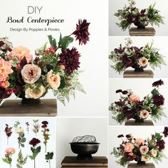 Beautiful centerpiece made with burgundy marsala statement flowers. Perfect for fall! Designed with faux flowers from afloral.com by Poppies & Posies