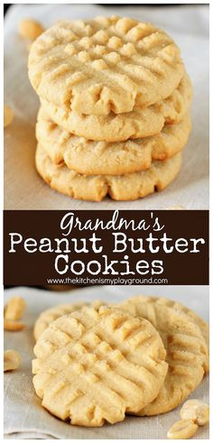 Grandma's Old-Fashioned Peanut Butter Cookies ~ The stuff childhood cookie memories are made of! #cookies #peanutbutterrecipes #peanutbuttercookies #peanutbutter #grandmasrecipes #thekitchenismyplayground