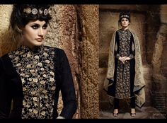 Jacket Style Suit In Black Bhagalpuri With Embroidered Front Panel In Zari Bottom In Black Santoom With Dupatta In Beige Mano Net Fabric With Embroidery on it. Achkan, Indian Bollywood, Pakistani, Lehenga Choli, Anarkali, Indian Ethnic, Jacket Style, Indian Dresses, Salwar Kameez