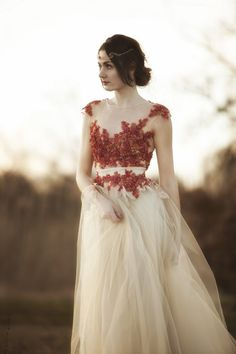 Nude tulle dress with red lace by AtelierDeCoutureJK on Etsy, €411.00