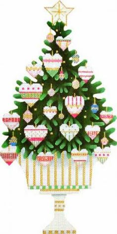 Melissa Shirley Designs | Hand Painted Needlepoint | Heart Tree