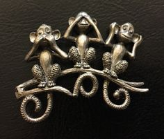 Vintage Three Monkeys Brooch, Hear No Evil. See No Evil, Speak No Evil Pin, Monkey, Monkeys, 1970s, 1980s , 1990s by oodlesofrandomstuff on Etsy