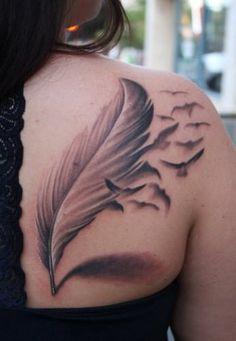 Feather Bird Tattoo on Back