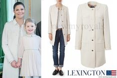 Crown Princess Victoria wore a sandshell color jacket by Lexington Company which is a Swedish fashion house.