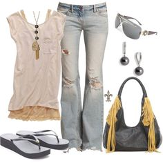 Rugged Yellow by hatsgaloore on Polyvore featuring polyvore, fashion, style, Free People, Tory Burch, MBaoBao, Mikimoto, Bee Charming, Versace and free people distressed denim