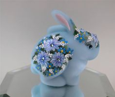 Fenton Bunny Rabbit BLUE SATIN Mums Swarovski FORGET-ME-NOTS OOAK *FREEusaSHIP in Pottery & Glass | eBay
