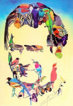 Imagen de Don Bosco formada por varias imágenes de aves.