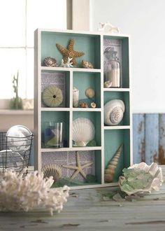 The Wicker House: Drawers, Cubbies and Shadow Boxes Coastal Style, Coastal Living, Coastal Decor, Seaside Decor, Nautical Style, Seashell Crafts, Beach Crafts, Diy Crafts, Deco Marine