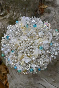 brooch bouquet w/ a hint of tiffany blue