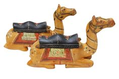 Hand-Carved Wooden Camels - A Pair on Chairish.com