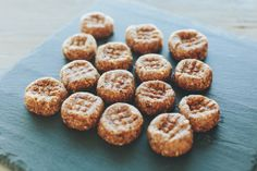 Raw Peanut Butter Bites Sweetened with Dates: 1 cup almonds  1 tsp. vanilla extract  1/2 tsp. cinnamon  1 cup pitted dates  heaping 1/2 cup peanut butter  two pinches of salt