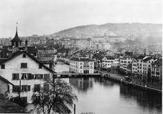 Blick auf die Limmat und den Oberern Mühlesteg, 1892. Paris Skyline, Travel, Past, City, Photo Illustration, Viajes, Trips, Traveling, Tourism